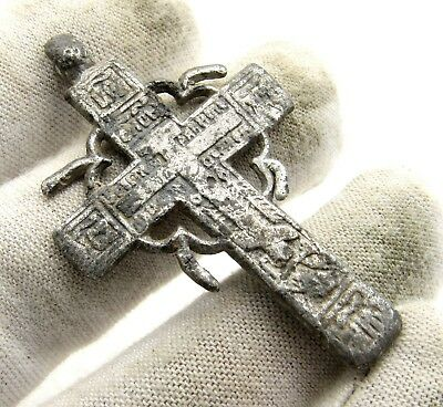 Late Medieval Silvered Bronze Cross Pendant - Artifact Wearable - E56