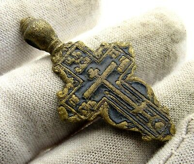 Late/post Medieval Era Bronze Enamelled Cross Pendant - Wearable - E57