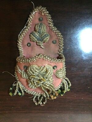 Antique Vintage Indian Iroquois Whimsey Beaded Wall Pocket Holder Native