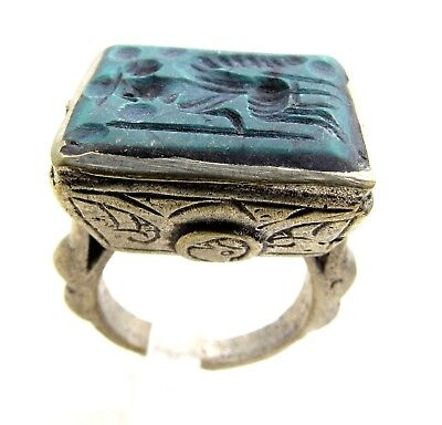 Post Medieval Silver Ring W/ Carved Intaglio Green Lapis Seated Warrior - E74