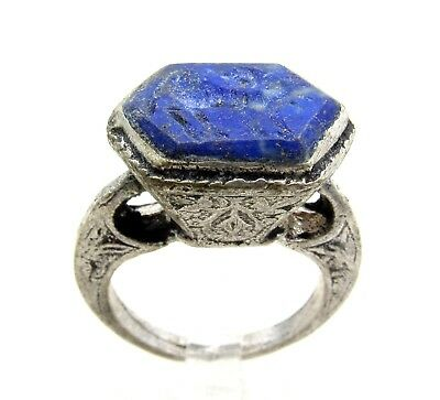 Post Medieval Silver Ring W/ Carved Intaglio  Lapis Beast - Wearable - E75