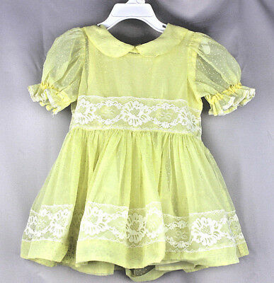 VINTAGE Yellow Polka dot Layered Slip Ruffle Lace Toddler Little Girls Dress