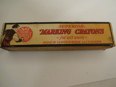 """Vintage Socony Standard Oil of New York Superior """"B"""" Marking Crayons 12 in Box"""