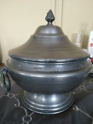 VERY RARE 18th Century European Pewter Lidded Pot with Fancy Handles and Filial