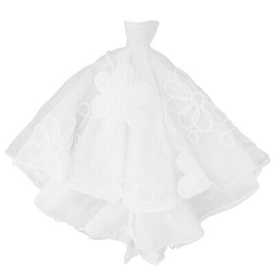 Handmade Embroidery White Wedding Dress Bridal Gown Outfits For Doll
