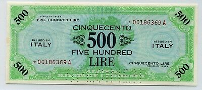 """ITALY  500 Lire P-M22s """"Allied Military Currency"""" 1943-A  UNC """"Replacement Star"""""""