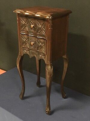 Intricate Carved Walnut End Table/2-Drawer Nightstand