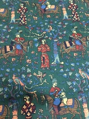 Waverly Green Persia Chinesere Pagoda  Toile Drapery Cotton Fabric By The Yard