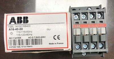 ABB Contactor A16-40-00 | 30 AMP | 3 or 4 Pole | 110 Coil | AC-3: 7.5kW-400V