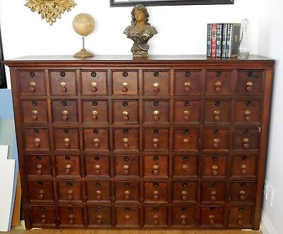 Antique c1860 US Post Office / Apothecary Chest Cupboard Cabinet Civil War Era
