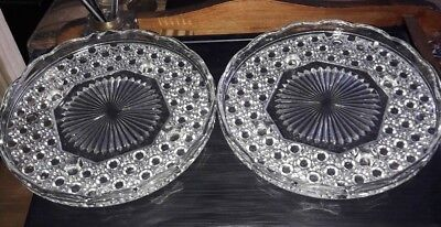 A Pair of Pressed Glass Vintage Cake Plates