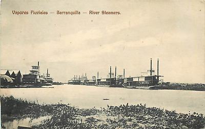 """Barranquilia Colombia S.a. """"vapores Fluviales - River Steamers Postcard"""