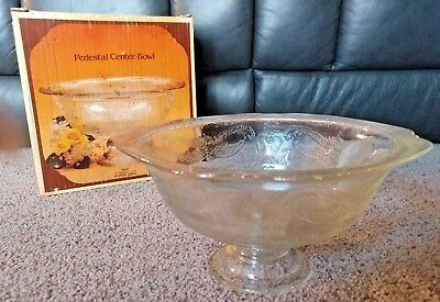 INDIANA GLASS RECOLLECTION Vintage Pedestal Footed Center Bowl Clear #4506 *NIB*