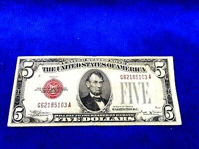 Series Of 1928 D  $5  Dollar Bill Red Seal Us Currency Serial  # G62185103 A