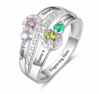 Vintage Antique Style Engraved Mothers Ring 4 birthstone 4 names