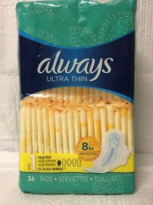Always Ultra Thin Size 1 Regular Absorbency 36 Count Pads W/ Flexi Wings 8 Hr