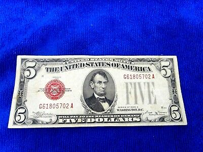 Series Of 1928 D   $5  Dollar Bill Red Seal Us Currency Serial  # G61805702 A