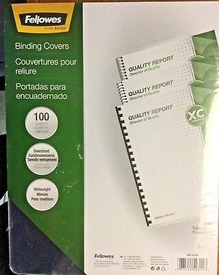 100-Fellowes Binding Covers Clear Transparent CRC 52309 Oversized Midweight