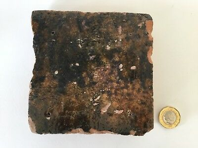 Medieval Floor Tile, 15th Century, Beautiful Glaze, from Thames, London