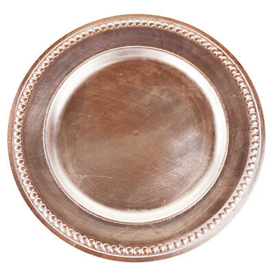 Beaded Trim Charger Plate, Rose Gold, 14-Inch