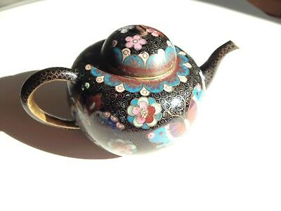 Antique/ vintage cloisonne Japanese small teapot with butterflies