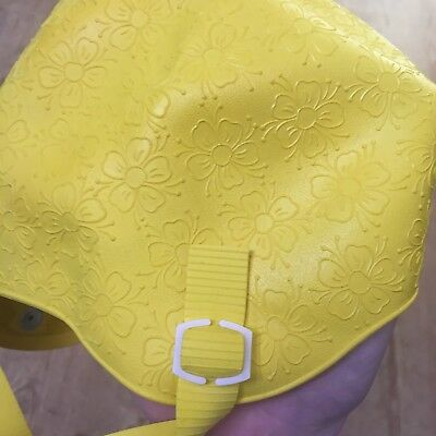 Vintage Yellow Floral Swimming Cap / Hat with Chin Strap