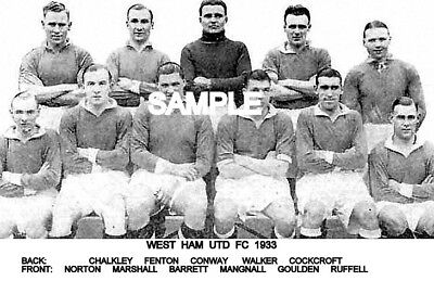 West Ham Utd FC 1933 Team Photo