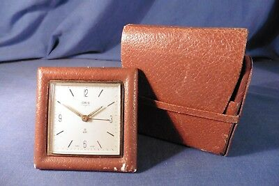 Vintage Swiss Oris 7 jewels 8 days alarm clock with leather case - working