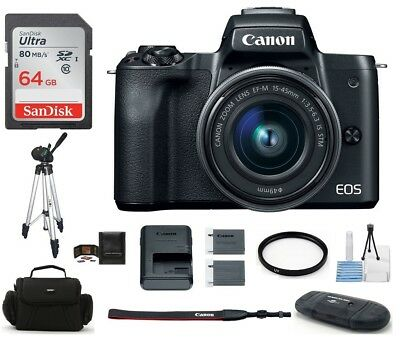 Canon EOS M50 Mirrorless Digital Camera with 15-45mm Lens (Black) 64GB Bundle