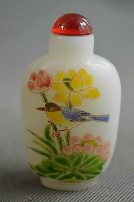 China Collectable Handwork Agate Paint Vivid Flower Bird Lucky Rare Snuff Bottle