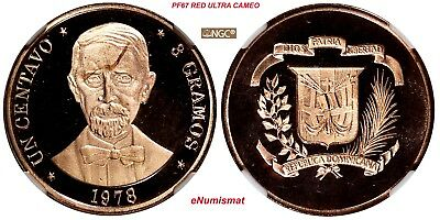 DOMINICAN REPUBLIC PROOF 1978 1 Centavo NGC PF67 RD ULTRA CAMEO TOP GRADED KM48