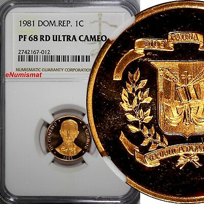 DOMINICAN REPUBLIC PROOF 1981 1 Centavo NGC PF68 RD ULTRA CAMEO TOP GRADED KM#48