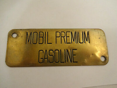 Nice Vintage Mobil Oil Premium Gasoline Brass Gas Pump Tag or Sign