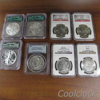 8 Pc Lot Morgan Peace Silver Eagle One Dollar $1 Coins ICG NGC Graded #JC648