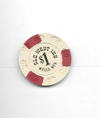 Casino Chip $1 OLD WEST INN  Wells NV Diecar Mold 1978 Issue   NEW UNCIRCULATED