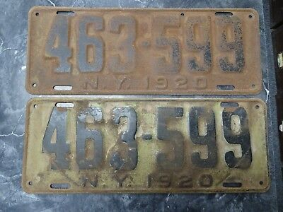 Antique/Vintage Pair of 1920 New York State License Plates Automobile Nice BIN!