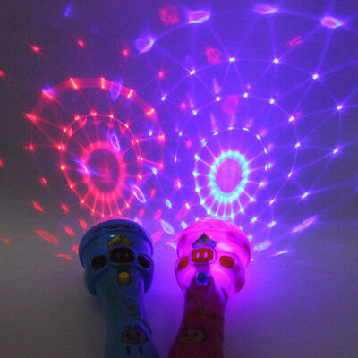 LED Light Flashing Projection Microphone Torch Shape Babys Kid Children Toy Gift