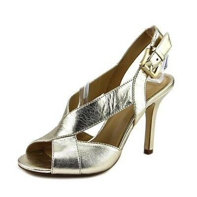 9666ee1a7ea5 NIB Size 7.5 Michael Kors Becky Sandals Metallic Leather New In Box Pale  Gold