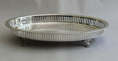 Vintage Leopard Silver Plate Footed Ornate Pierced Gallery Oval Tray