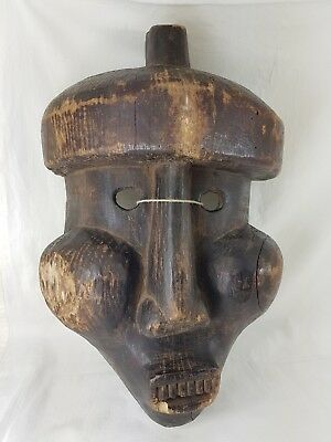 Unusual Old Tribal African Mask With Buldging Cheeks Mali