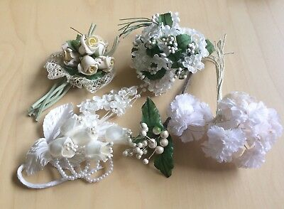 Vintage Millinery Flowers Lot White Cream Pale Pink Roses Pearls Wedding