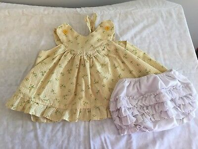 1960's 12/18M  Vintage Baby Girl Wrap Around Pinafore And Ruffled Bloomers,