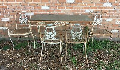 Wrought Iron Harp Back Rectangular Table and Chairs