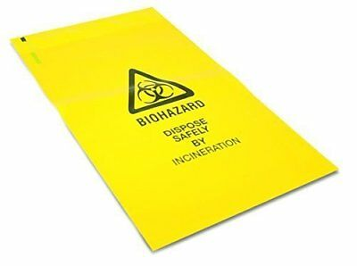 25 x Strong Clinical Waste Biohazard / Bio Hazard Yellow Bags 203mm x 354mm