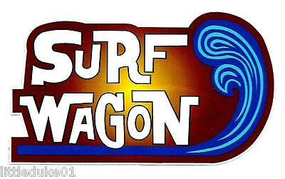 SURF WAGON Vinyl Sticker Decal Longboard Surfing KOMBI VW Panel Van Surfboard