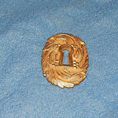 Ibcredible detail ANTIQUE Original Keyhole Escutcheon  BRASS detailed and heavy