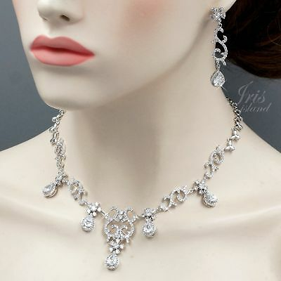 White Gold Plated Clear Cubic Zirconia Necklace Earrings Wedding Jewelry Set 494