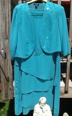 Le Bos 22 Women Teal Turquoise Plus Glitter Jacket Mother Formal Wedding Dress