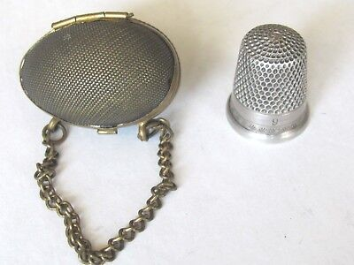Victorian Chatelaine Thimble Case hinged Egg shape with Chain , Size 9 M.M.H.