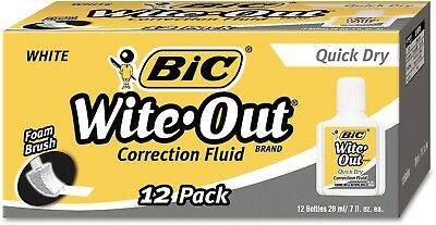 BIC Wite-Out Brand Quick Dry Correction Fluid, 20 Ml, White, 12-Count